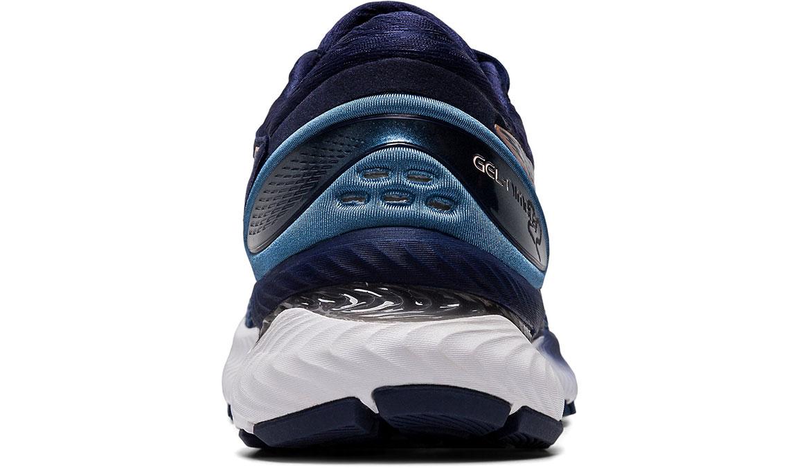Women's Asics GEL-Nimbus 22 Running Shoe - Color: Grey Floss/Peacoat (Wide Width) - Size: 6, Blue/Pink, large, image 4