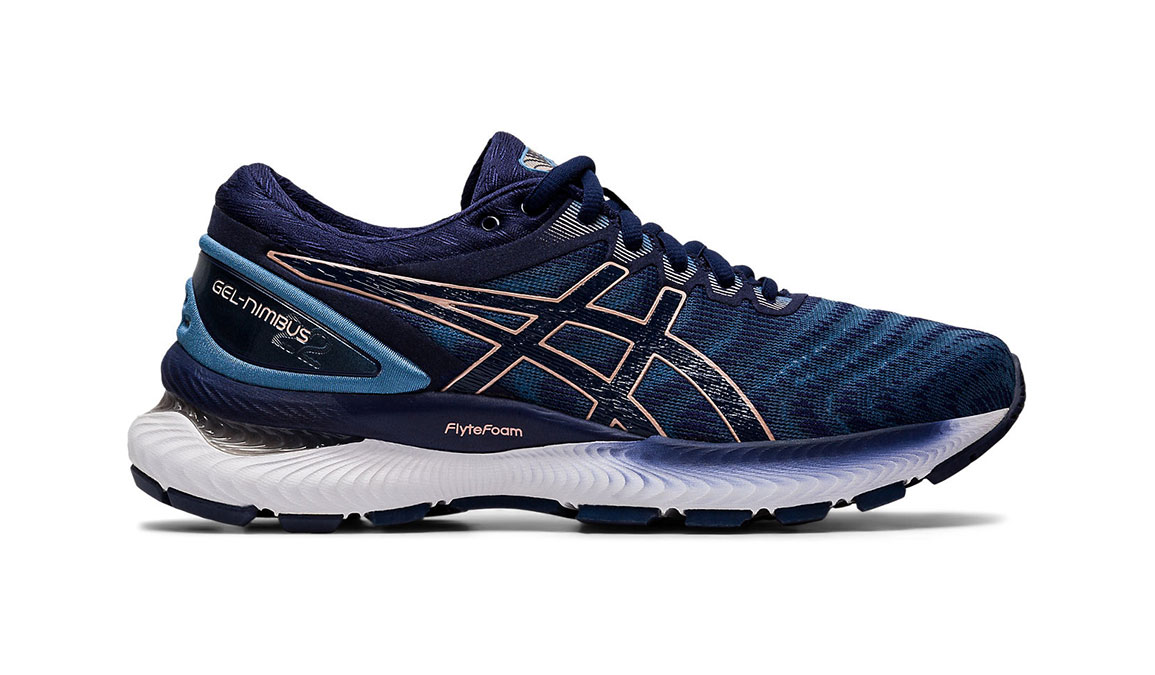 Women's Asics GEL-Nimbus 22 Running Shoe - Color: Grey Floss/Peacoat (Wide Width) - Size: 6, Blue/Pink, large, image 1