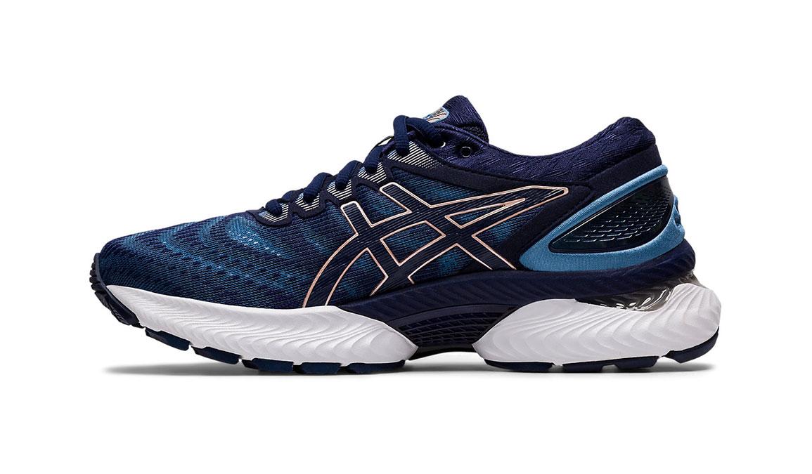 Women's Asics GEL-Nimbus 22 Running Shoe - Color: Grey Floss/Peacoat (Wide Width) - Size: 6, Blue/Pink, large, image 2