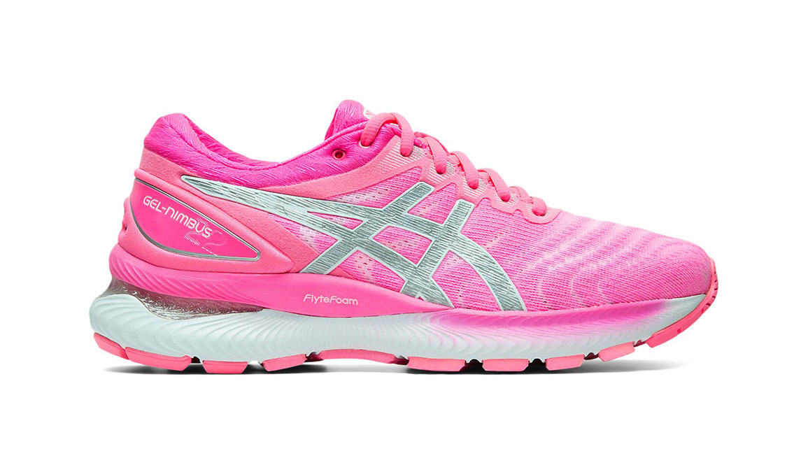 Women's Asics GEL-Nimbus 22 Running Shoe - Color: Hot Pink/Pure Silver (Regular Width) - Size: 6.5, Hot Pink, large, image 1