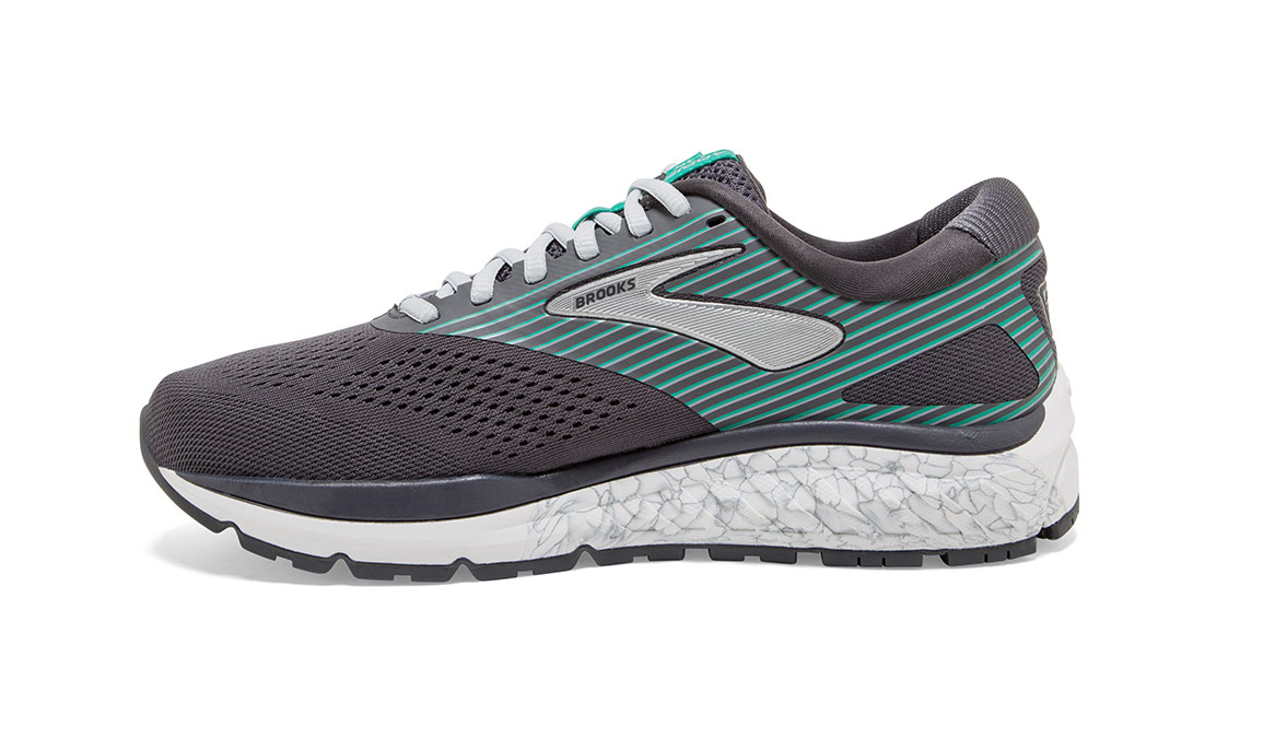 Women's Brooks Addiction 14 Running Shoe - Color: Blackened Pearl/Arcadia (Regular Width) - Size: 8.5, Black/Green, large, image 4