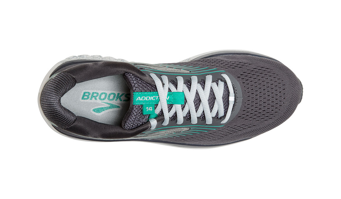 Women's Brooks Addiction 14 Running Shoe - Color: Blackened Pearl/Arcadia (Regular Width) - Size: 8.5, Black/Green, large, image 5
