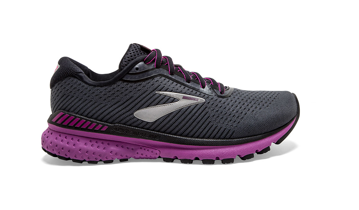 Women's Brooks Adrenaline GTS 20 Running Shoe - Color: Ebony/Black/Hollyhock (Regular Width) - Size: 7, Black/Pink, large, image 1