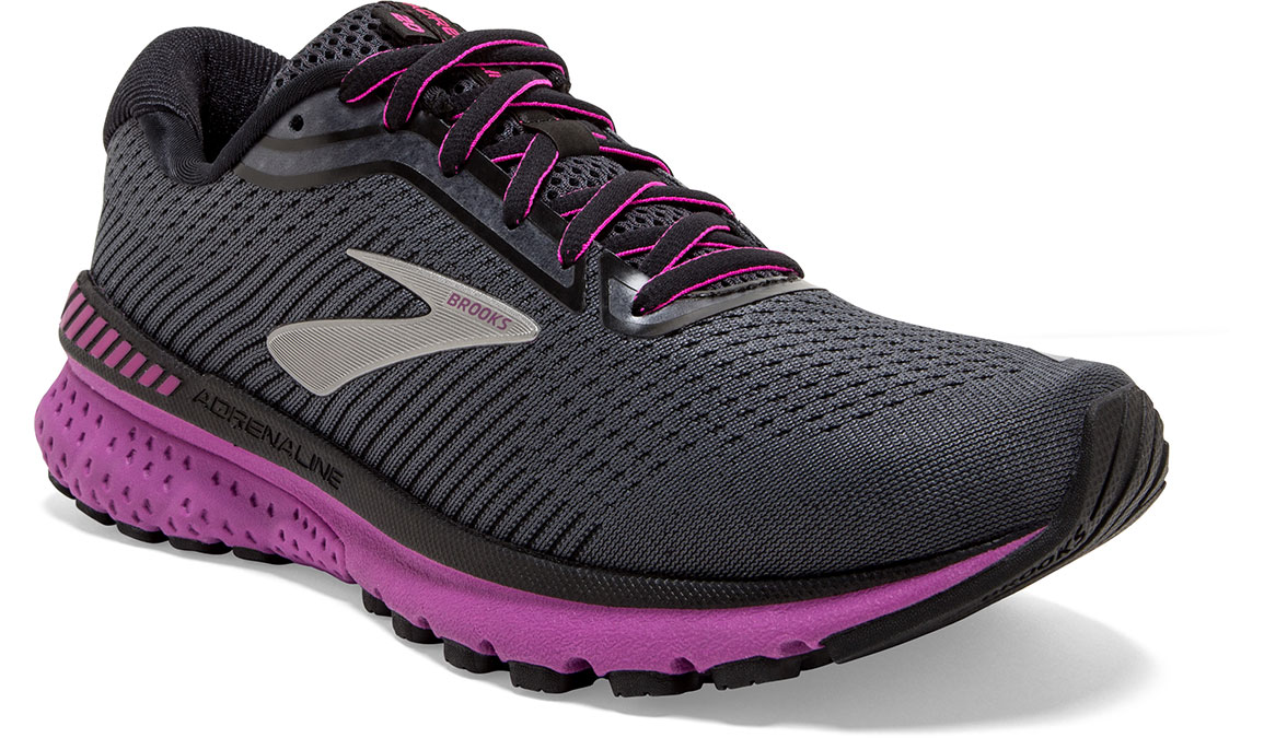 Women's Brooks Adrenaline GTS 20 Running Shoe - Color: Ebony/Black/Hollyhock (Regular Width) - Size: 7, Black/Pink, large, image 2