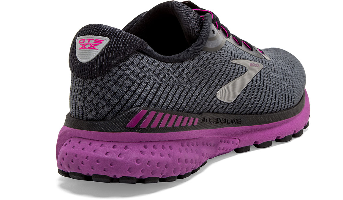 Women's Brooks Adrenaline GTS 20 Running Shoe - Color: Ebony/Black/Hollyhock (Regular Width) - Size: 7, Black/Pink, large, image 3
