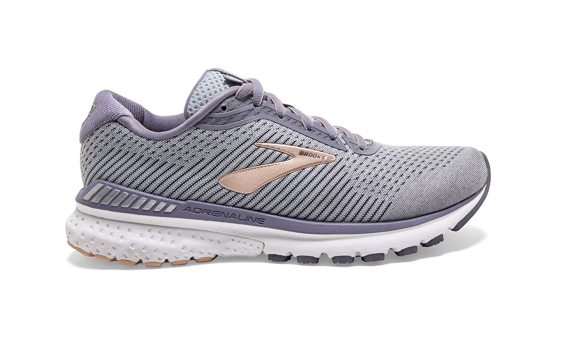 Women's Brooks Adrenaline GTS 20 Running Shoe - Color: Grey/Pale Peach (Regular Width) - Size: 6, Grey/Peach, large, image 1