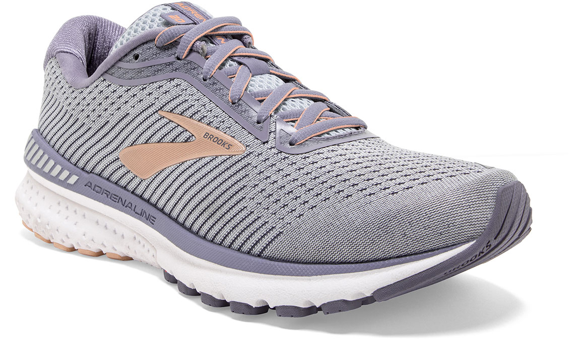 Women's Brooks Adrenaline GTS 20 Running Shoe - Color: Grey/Pale Peach (Regular Width) - Size: 6, Grey/Peach, large, image 2
