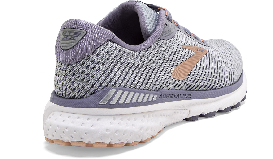 Women's Brooks Adrenaline GTS 20 Running Shoe - Color: Grey/Pale Peach (Regular Width) - Size: 6, Grey/Peach, large, image 3