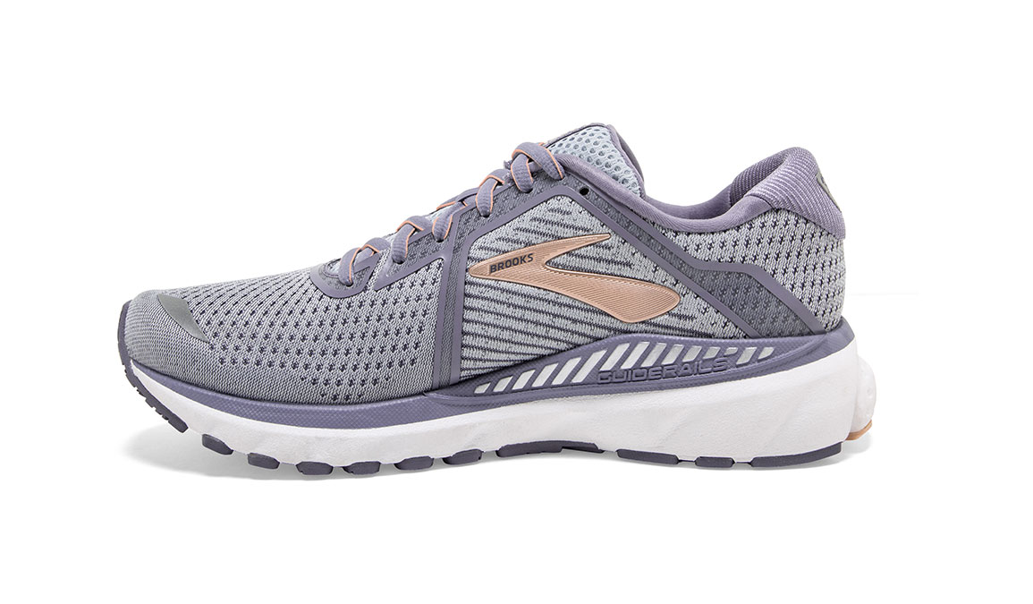 Women's Brooks Adrenaline GTS 20 Running Shoe - Color: Grey/Pale Peach (Regular Width) - Size: 6, Grey/Peach, large, image 4