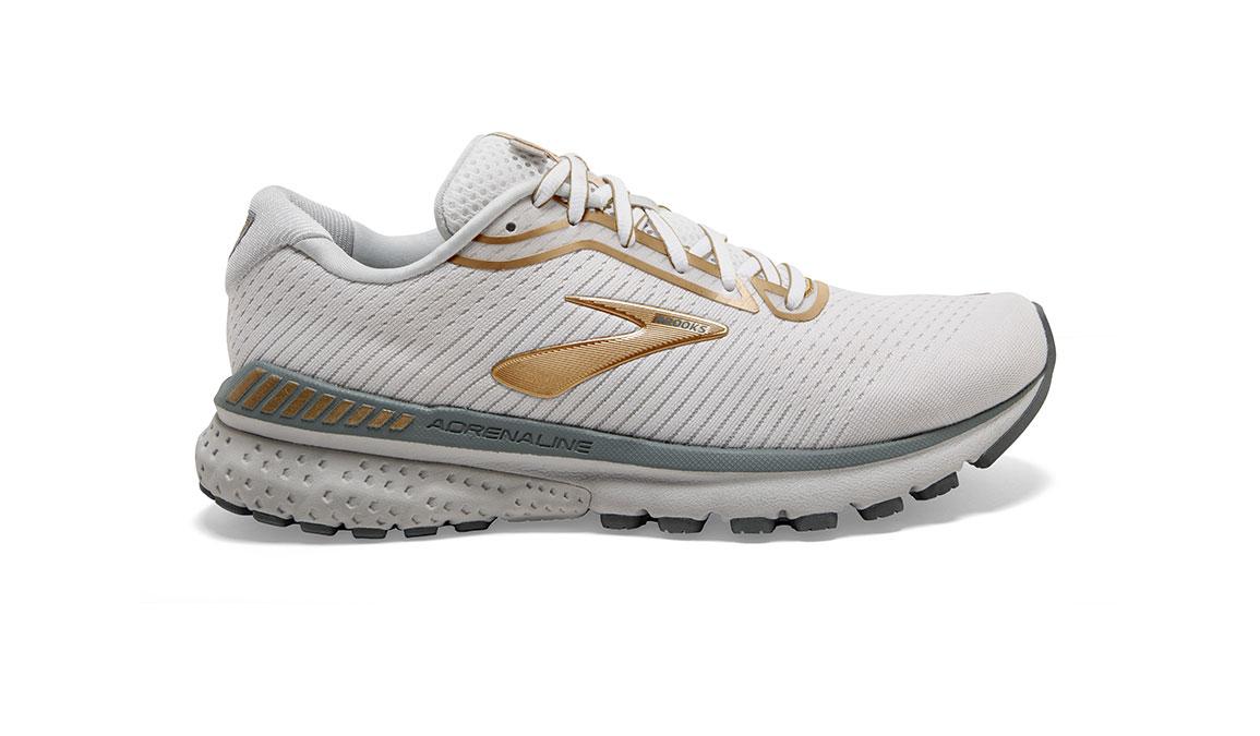 Women's Brooks Adrenaline GTS 20 Running Shoe - Color: White/Grey/Gold (Regular Width) - Size: 6, White/Gold, large, image 1