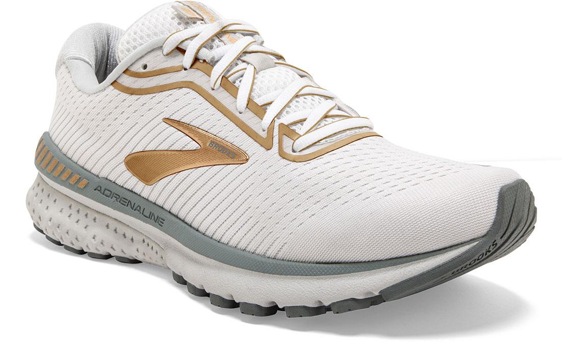 Women's Brooks Adrenaline GTS 20 Running Shoe - Color: White/Grey/Gold (Regular Width) - Size: 6, White/Gold, large, image 2