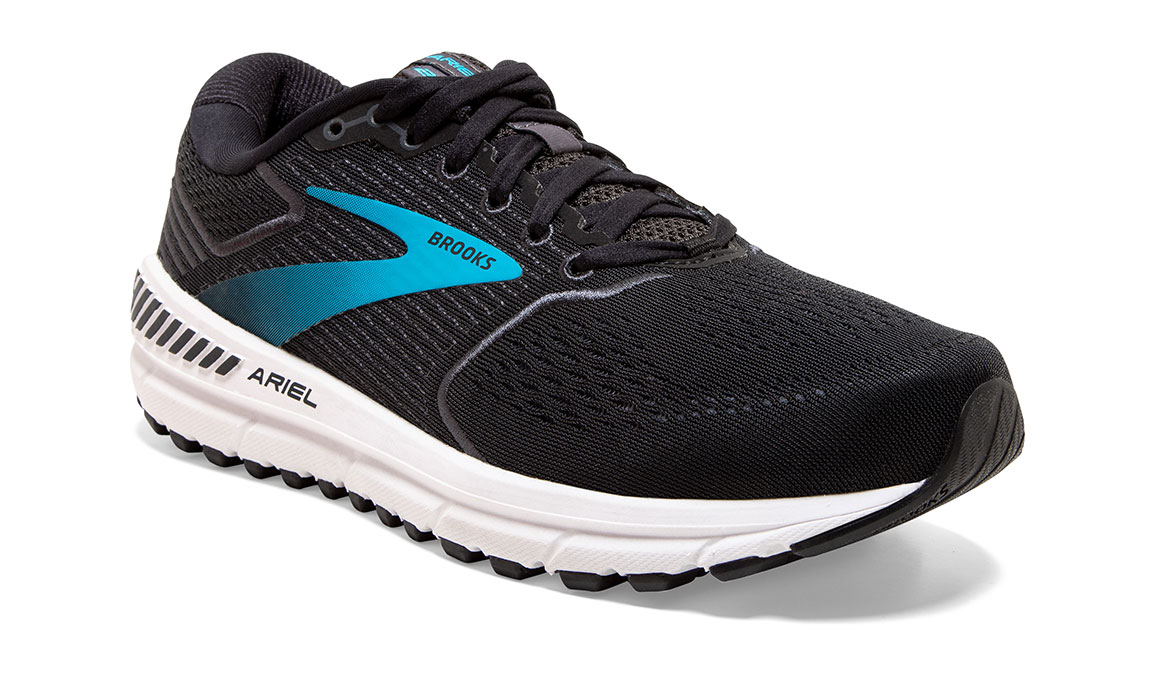 Women's Brooks Ariel '20 Running Shoe - Color: Black/Ebony/Blue (Regular Width) - Size: 7.5, Black, large, image 3