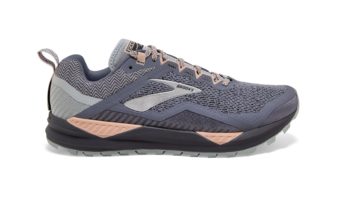 Women's Brooks Cascadia 14 Trail Running Shoe - Color: Grey/Pale Peach (Regular Width) - Size: 7.5, Grey/Pale Peach, large, image 1
