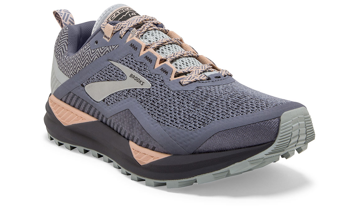 Women's Brooks Cascadia 14 Trail Running Shoe - Color: Grey/Pale Peach (Regular Width) - Size: 7.5, Grey/Pale Peach, large, image 2