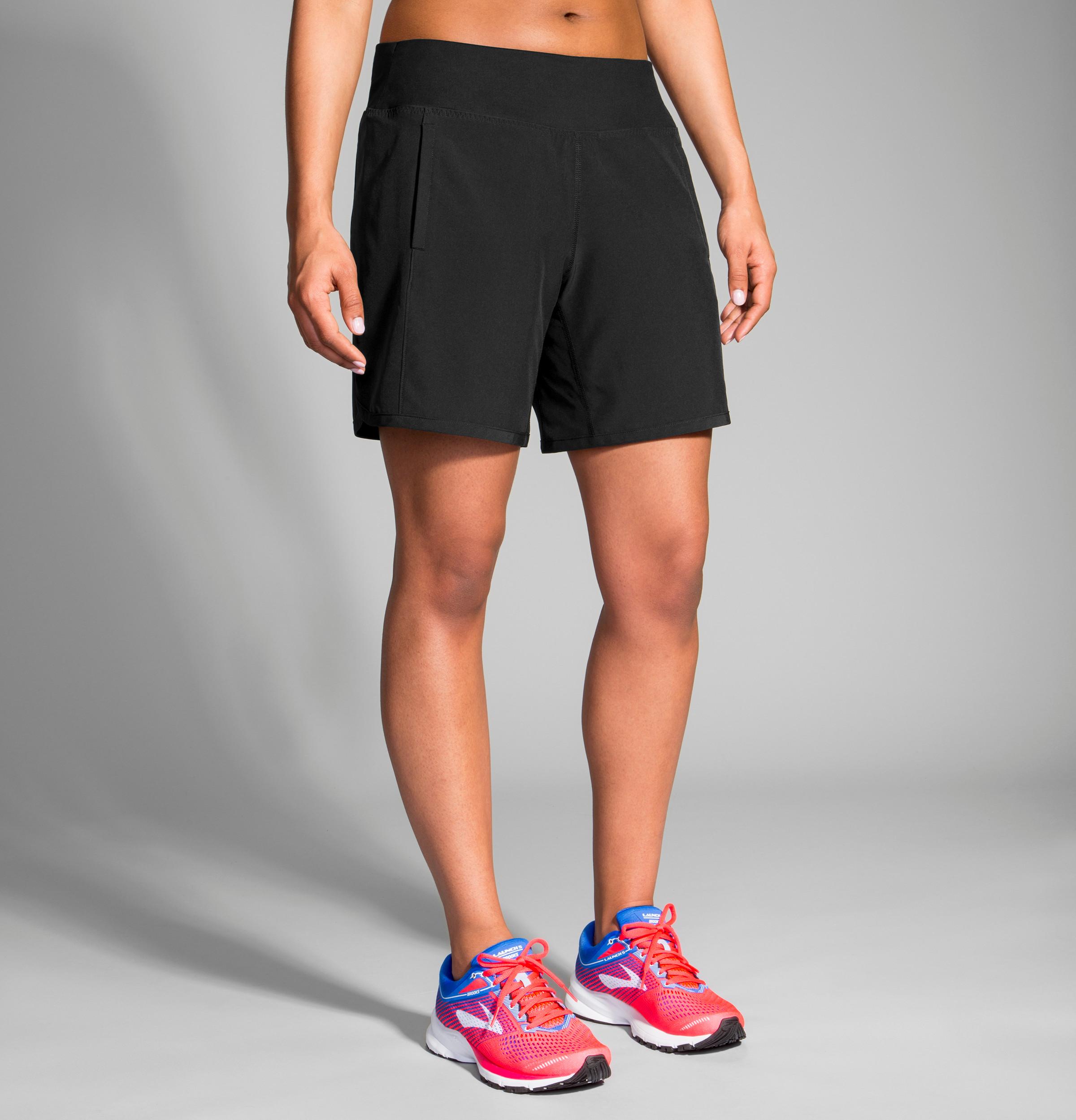 "Women's Brooks Chaser 7"" Running Shorts - Color: Black Size: XL, Black, large, image 2"