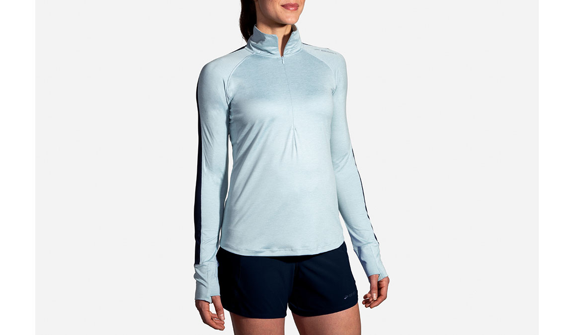 Women's Brooks Dash 1/2 Zip - Color: Heather Glacier/Navy Size: S, Glacier, large, image 1