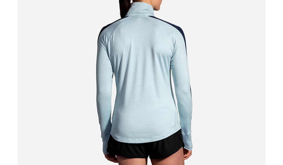 Women's Brooks Dash 1/2 Zip - Color: Heather Glacier/Navy Size: S, Glacier, large, image 3