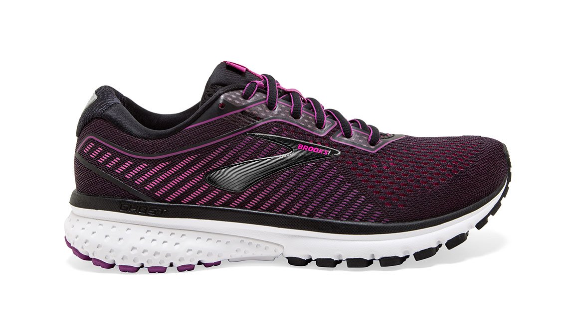 Women's Brooks Ghost 12 Running Shoe - Color: Black/Hollyhock (Regular Width) - Size: 8.5, Black/Pink, large, image 1