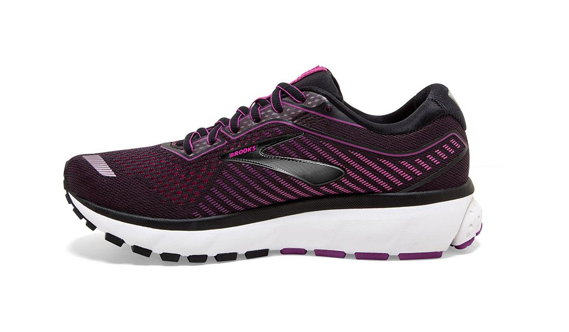 Women's Brooks Ghost 12 Running Shoe - Color: Black/Hollyhock (Regular Width) - Size: 8.5, Black/Pink, large, image 3