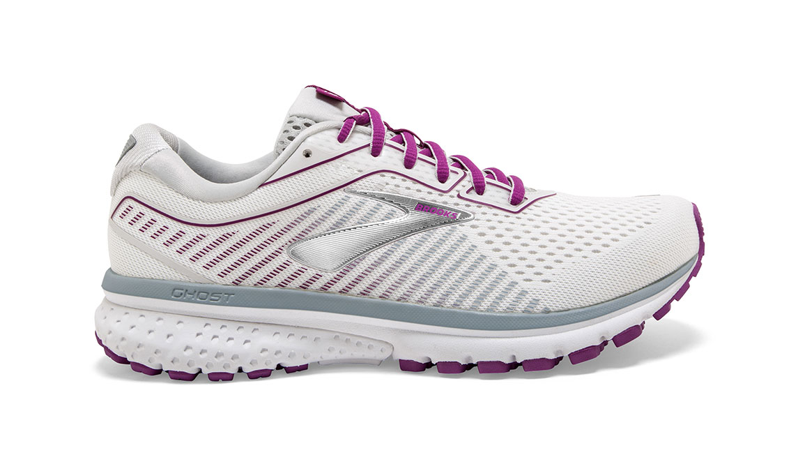 Women's Brooks Ghost 12 Running Shoe - Color: White/Grey/Hollyhock (Regular Width) - Size: 9, White/Pink, large, image 1