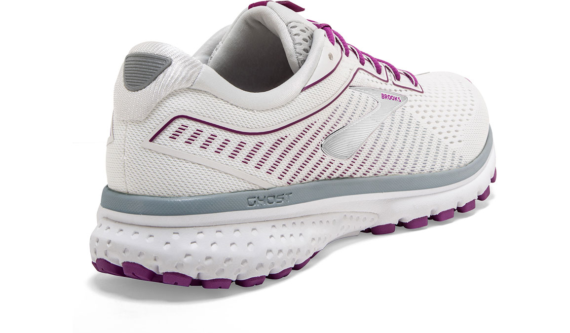 Women's Brooks Ghost 12 Running Shoe - Color: White/Grey/Hollyhock (Regular Width) - Size: 9, White/Pink, large, image 2