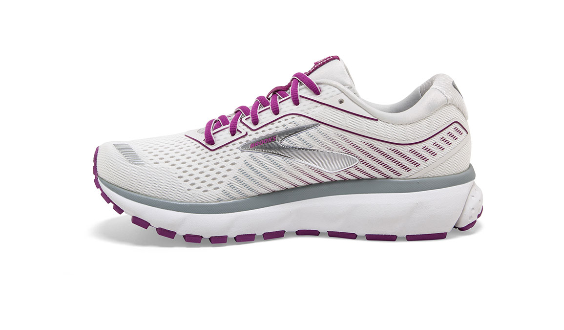 Women's Brooks Ghost 12 Running Shoe - Color: White/Grey/Hollyhock (Regular Width) - Size: 9, White/Pink, large, image 3