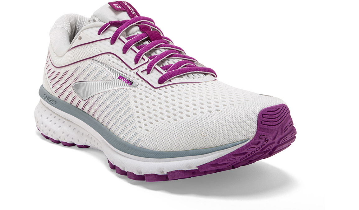 Women's Brooks Ghost 12 Running Shoe - Color: White/Grey/Hollyhock (Regular Width) - Size: 9, White/Pink, large, image 4