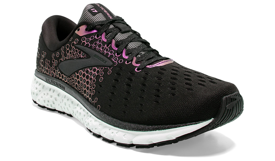 Women's Brooks Glycerin 17 Running Shoe - Color: Black/Iridescent (Regular Width) - Size: 7.5, Black/Iridescent, large, image 2
