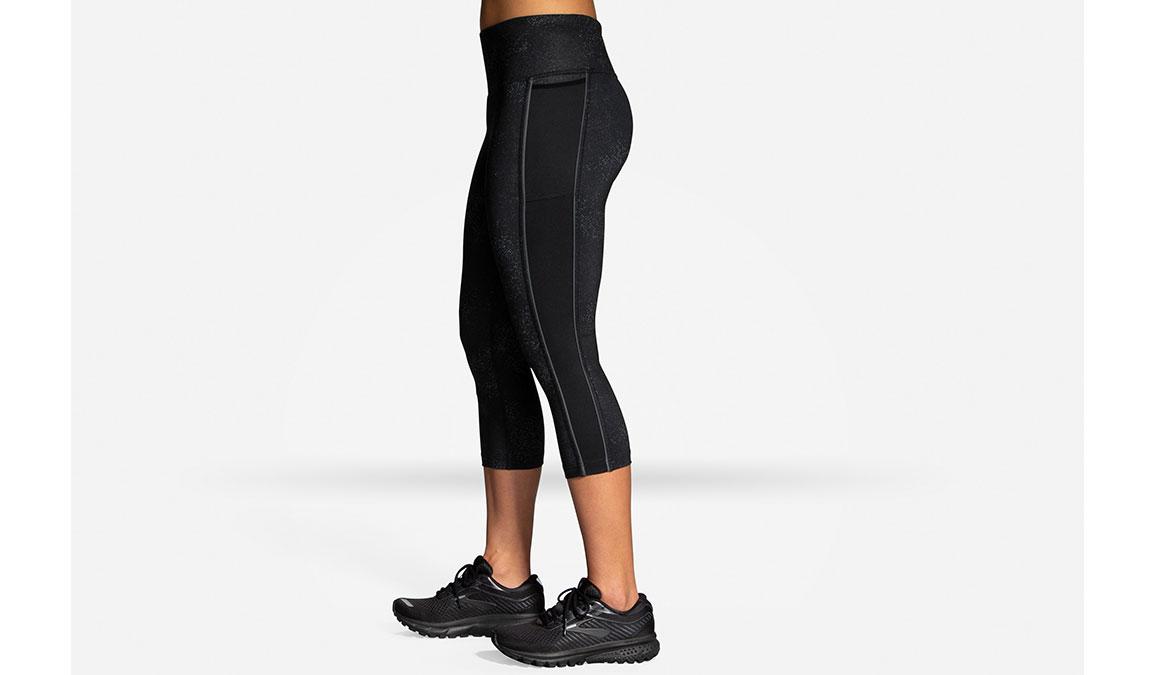 Women's Brooks Greenlight Capri  - Color: Black Speck/Asphalt Size: XS, Black/Grey, large, image 2