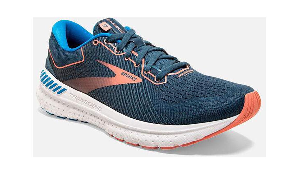 Women's Brooks Transcend 7 Running Shoe - Color: Majolica/Navy (Regular Width) - Size: 6, Orange/Blue, large, image 2