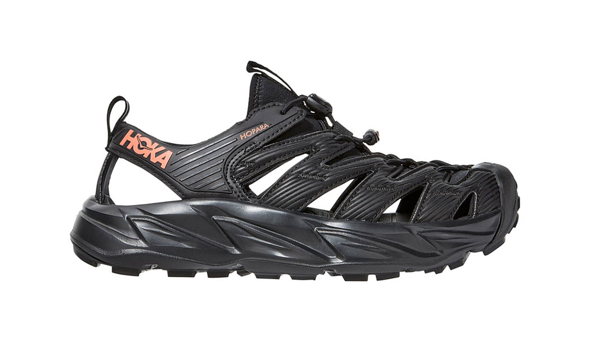 Women's Hoka One One Hopara Hiking Shoe - Color: Black/Fusion Coral (Regular Width) - Size: 5, Black/Fusion Coral, large, image 1