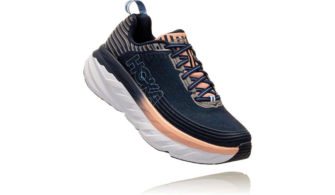 Women's Hoka One One Bondi 6 Running Shoe - Color: Mood Indigo/Dusty Pink (Wide Width) - Size: 7.5, Mood Indigo/Dusty Pink, large, image 2
