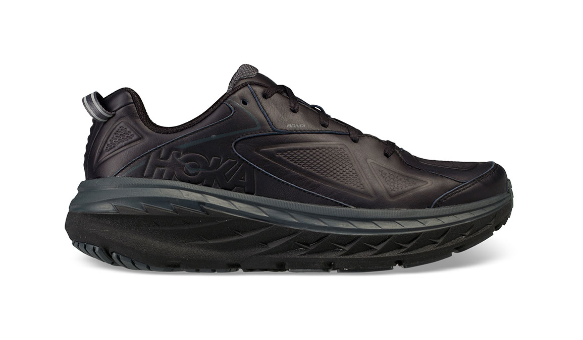 Women's Hoka One One Bondi Leather Running Shoe - Color: Black (Regular Width) - Size: 7, Black, large, image 1