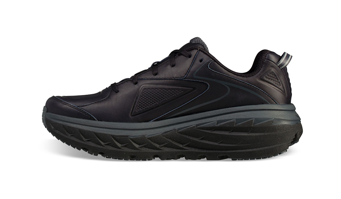 Women's Hoka One One Bondi Leather Running Shoe - Color: Black (Regular Width) - Size: 7, Black, large, image 2