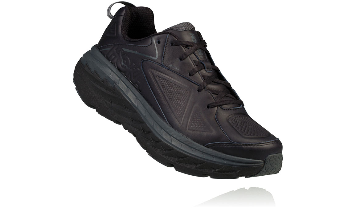 Women's Hoka One One Bondi Leather Running Shoe - Color: Black (Regular Width) - Size: 7, Black, large, image 3