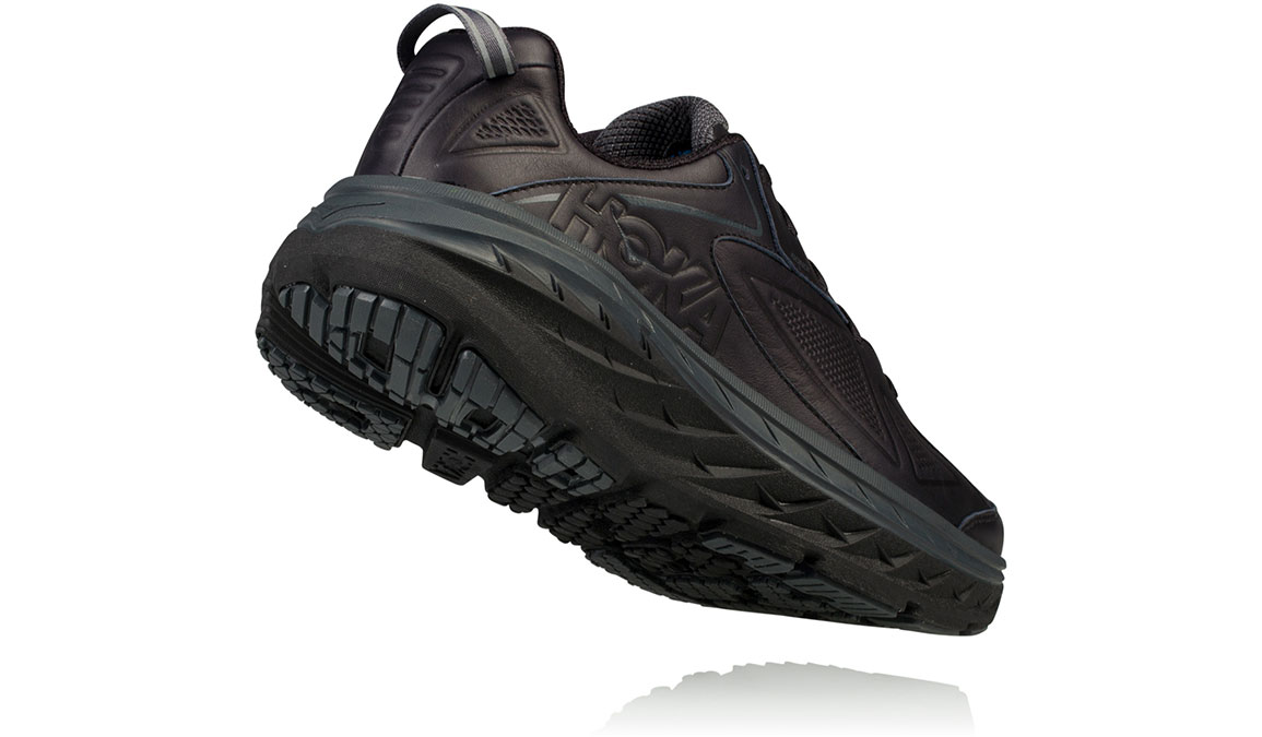 Women's Hoka One One Bondi Leather Running Shoe - Color: Black (Regular Width) - Size: 7, Black, large, image 4