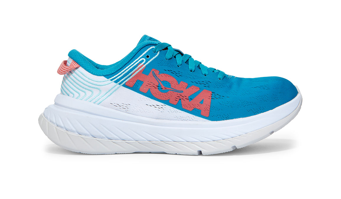 Women's Hoka One One Carbon X Running Shoe - Color: Caribbean Sea/White (Regular Width) - Size: 5, Caribbean Sea/White, large, image 1