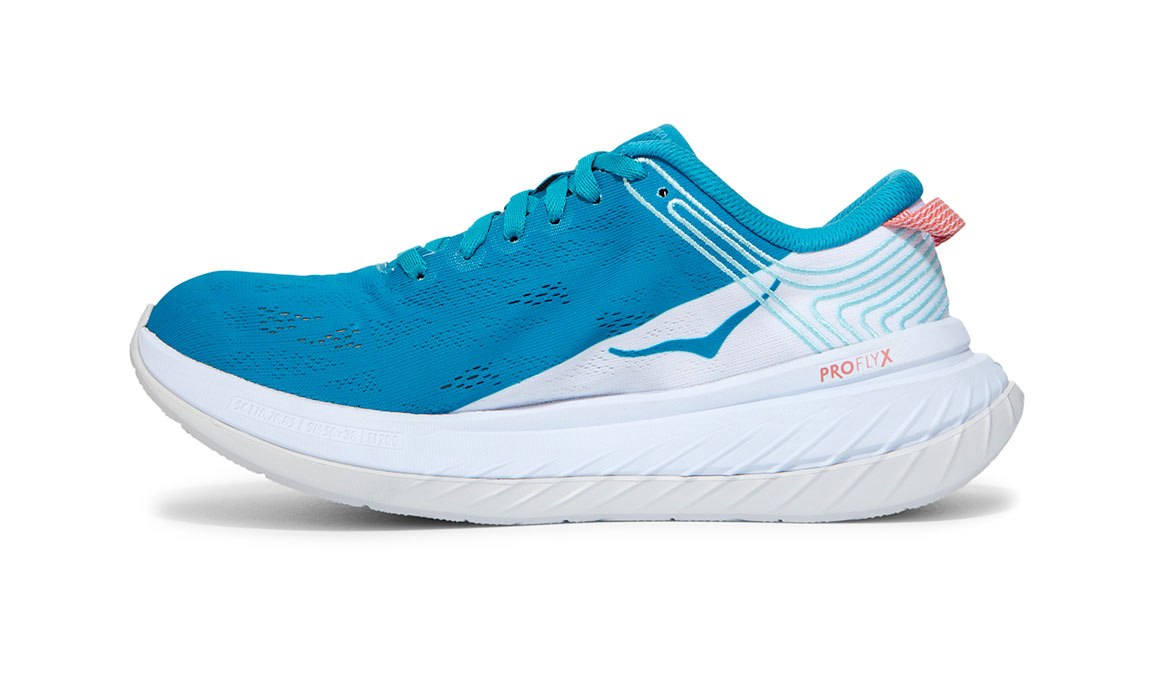 Women's Hoka One One Carbon X Running Shoe - Color: Caribbean Sea/White (Regular Width) - Size: 5, Caribbean Sea/White, large, image 4