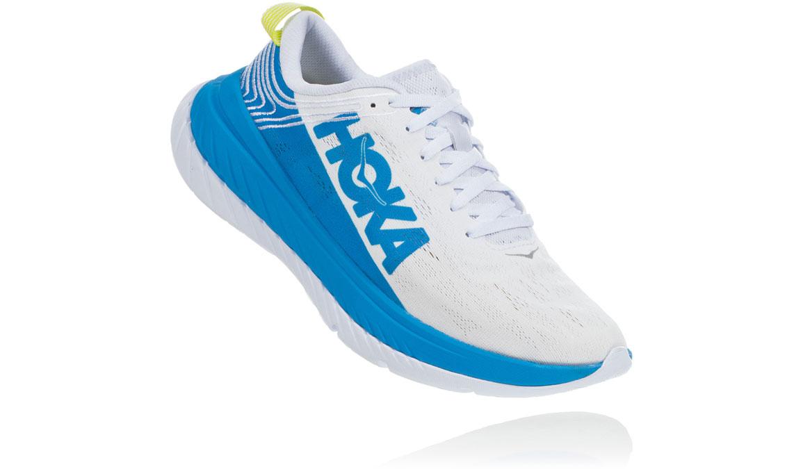 Women's Hoka One One Carbon X Running Shoe - Color: White/Dresden Blue (Regular Width) - Size: 5, White/Dresden Blue, large, image 2