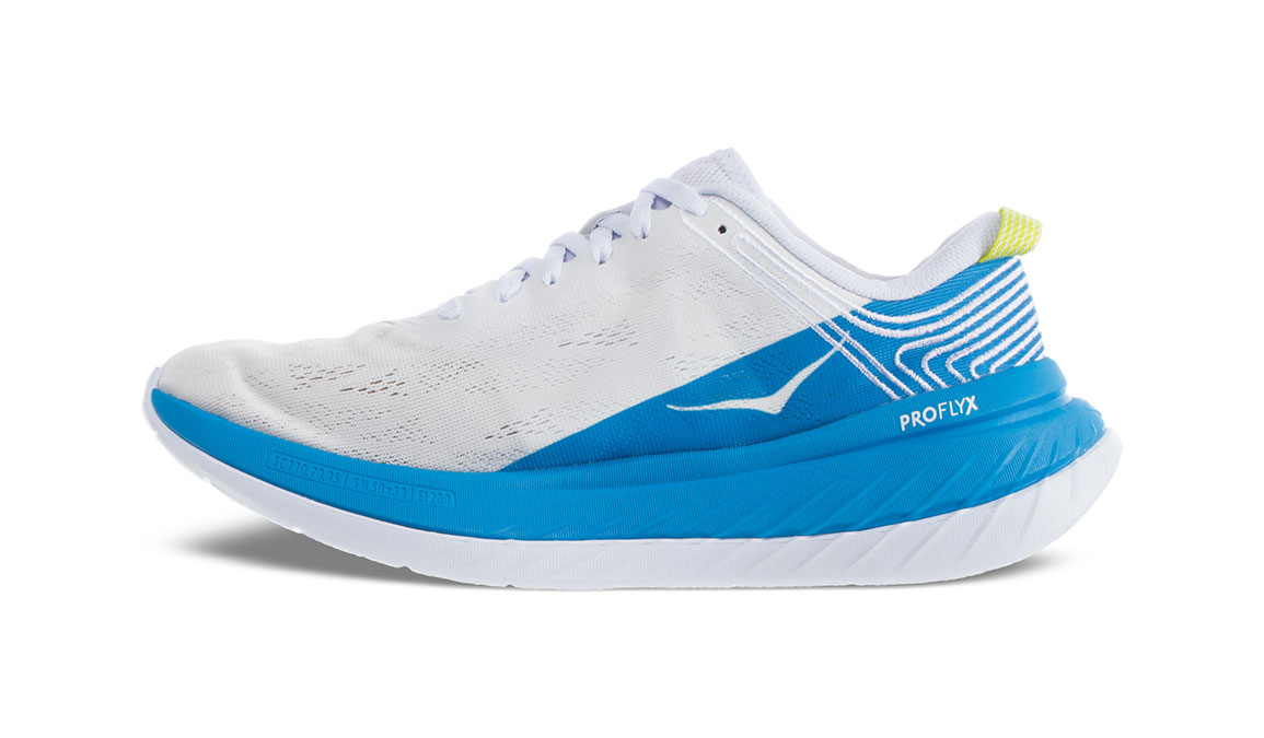 Women's Hoka One One Carbon X Running Shoe - Color: White/Dresden Blue (Regular Width) - Size: 5, White/Dresden Blue, large, image 4