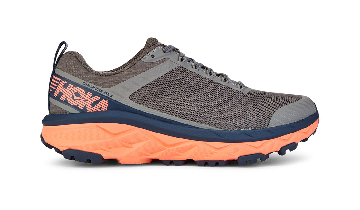 Women's Hoka One One Challenger ATR 5 Trail Running Shoe - Color: Charcoal Grey/Fusion Coral (Regular Width) - Size: 5, Charcoal Grey/Fusion Coral, large, image 1