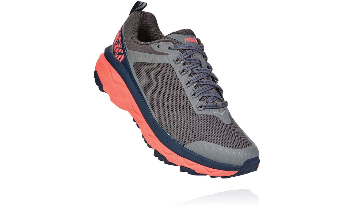 Women's Hoka One One Challenger ATR 5 Trail Running Shoe - Color: Charcoal Grey/Fusion Coral (Regular Width) - Size: 5, Charcoal Grey/Fusion Coral, large, image 2