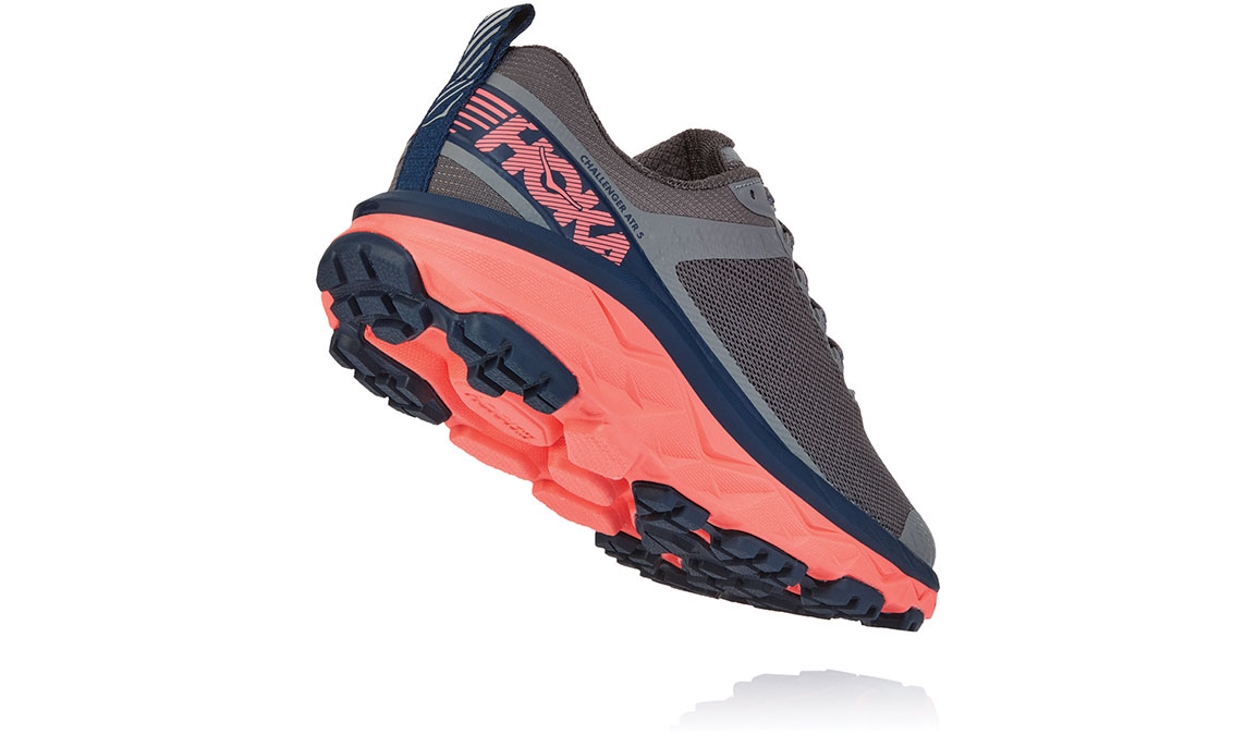 Women's Hoka One One Challenger ATR 5 Trail Running Shoe - Color: Charcoal Grey/Fusion Coral (Regular Width) - Size: 5, Charcoal Grey/Fusion Coral, large, image 3