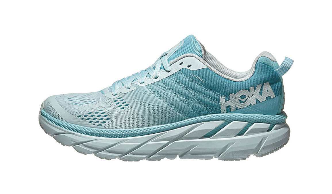 Women's Hoka One One Clifton 6 Running Shoe - Color: Antigua Sand/Wan Blue (Regular Width) - Size: 6.5, Antigua Sand/Wan Blue, large, image 2
