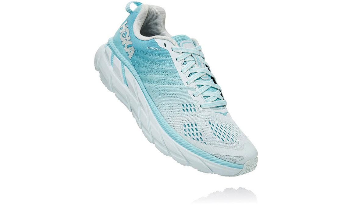 Women's Hoka One One Clifton 6 Running Shoe - Color: Antigua Sand/Wan Blue (Regular Width) - Size: 6.5, Antigua Sand/Wan Blue, large, image 3