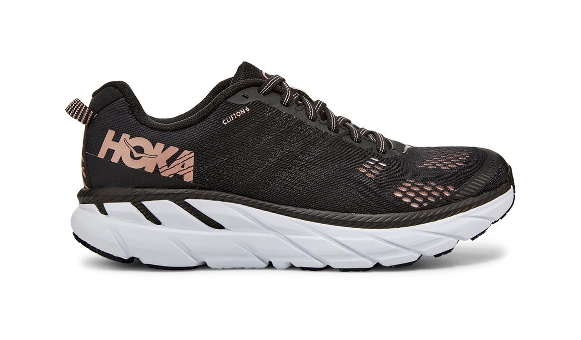 Women's Hoka One One Clifton 6 Running Shoe - Color: Black/Rose Gold (Regular Width) - Size: 5.5, Black/Rose Gold, large, image 1