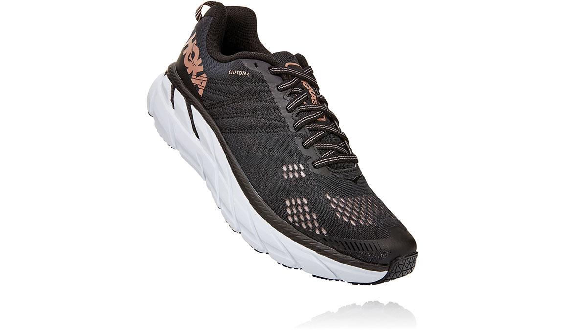 Women's Hoka One One Clifton 6 Running Shoe - Color: Black/Rose Gold (Regular Width) - Size: 5.5, Black/Rose Gold, large, image 2