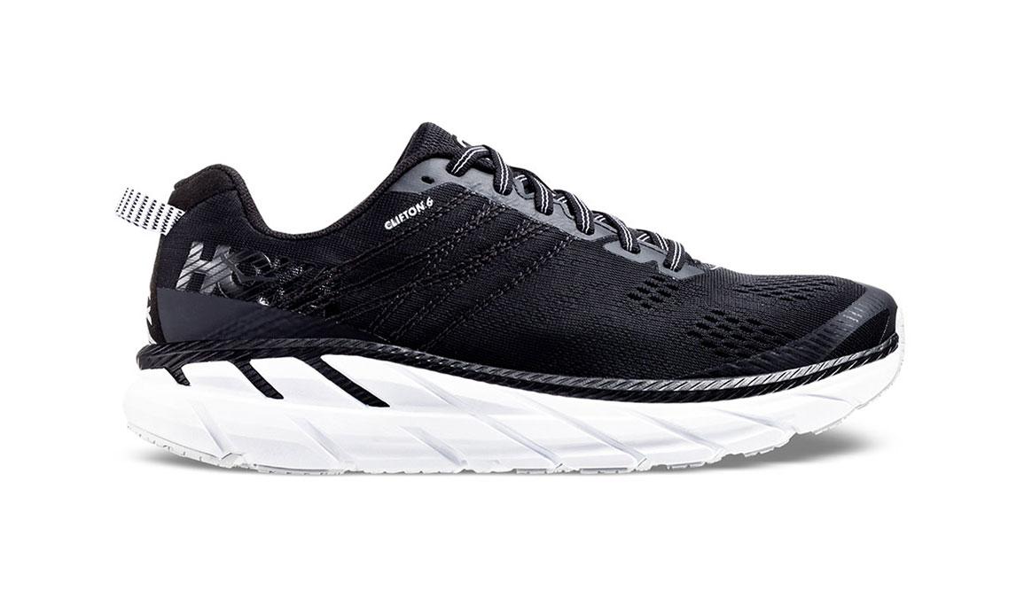 Women's Hoka One One Clifton 6 Running Shoe - Color: Black/White (Regular Width) - Size: 5, Black/White, large, image 1