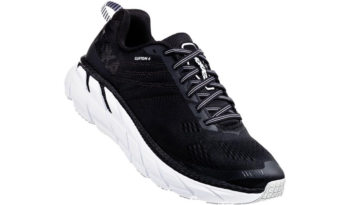 Women's Hoka One One Clifton 6 Running Shoe - Color: Black/White (Regular Width) - Size: 5, Black/White, large, image 2