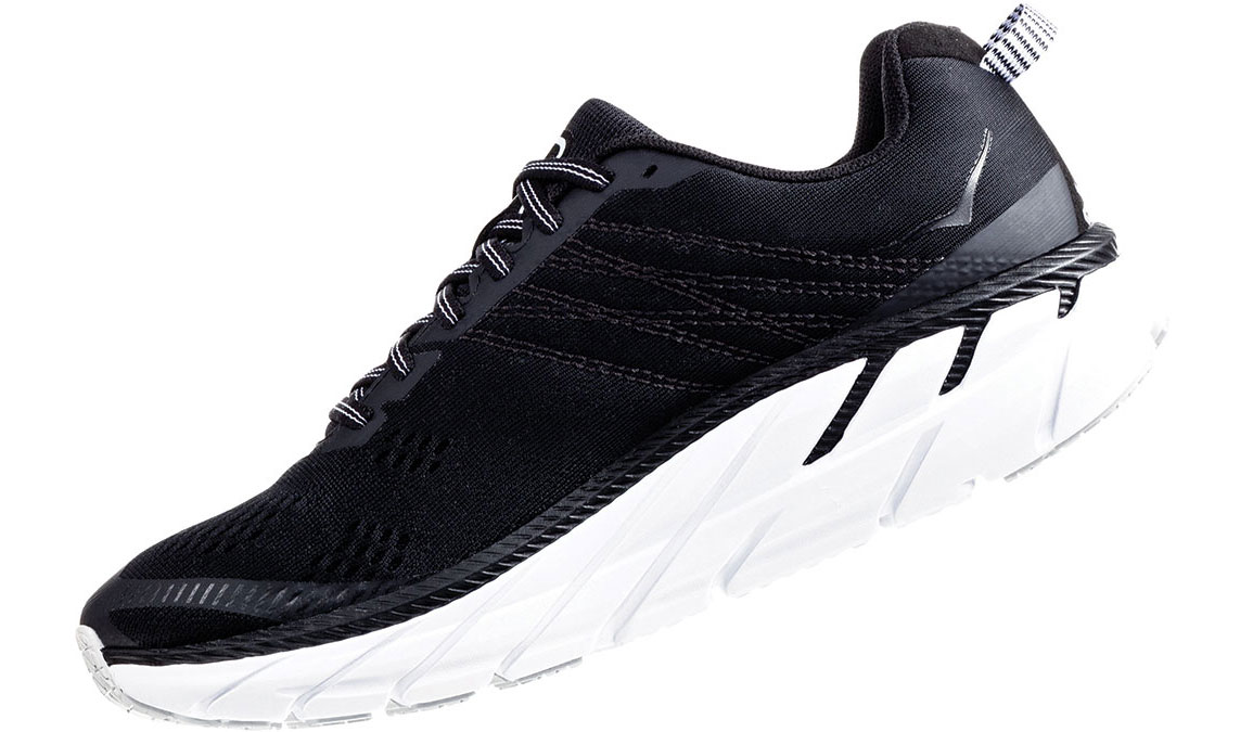 Women's Hoka One One Clifton 6 Running Shoe - Color: Black/White (Regular Width) - Size: 5, Black/White, large, image 4